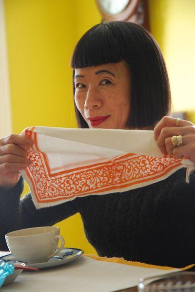 Hiroko drinking tea