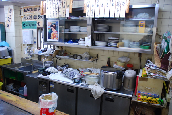 Back counter with washed dishes