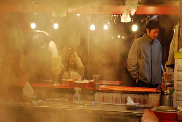 Ramen customers through steam