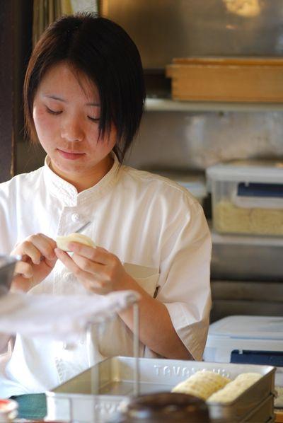 Dumplings being sealed