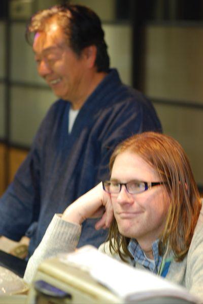 Charlie sad for blow fish, Aoki San smiling in joy