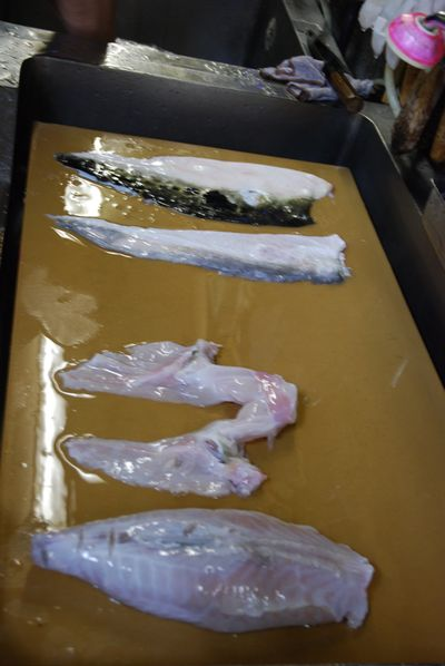 Fugu fillets and skin laying on board