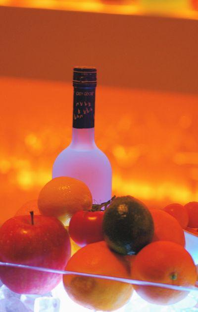 Fruit and vodka kept chilled