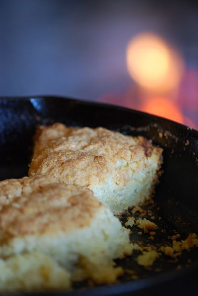Biscuits close up with flame behind