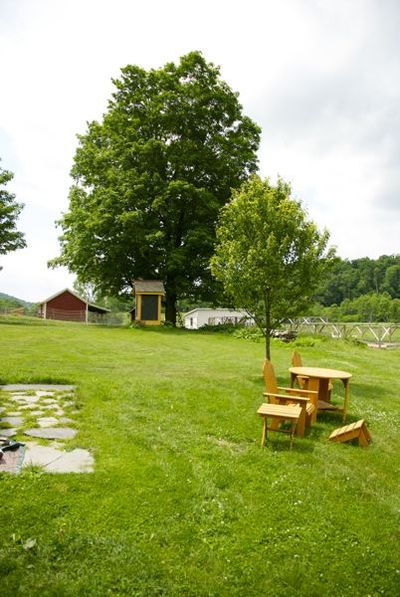 Adirondack chairs, well and buck barn