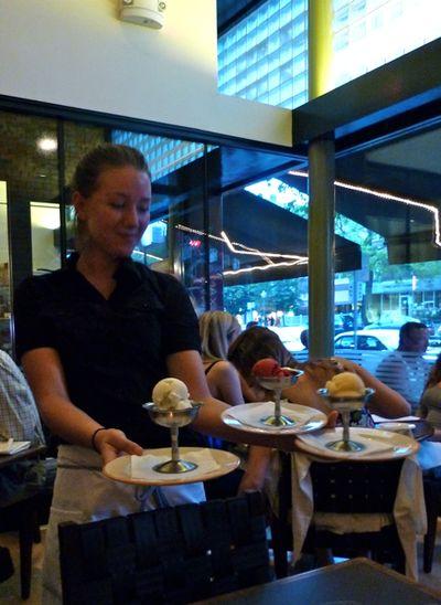 Server with desserts