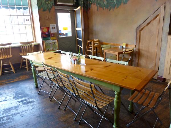 Empty communal table