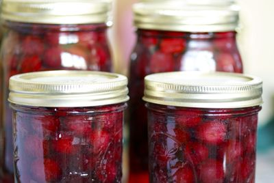 Sour cherries canned and ready