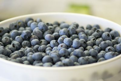 Blueberries in white bucket