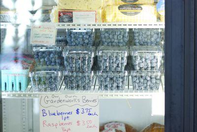 Blueberries in refrigerator