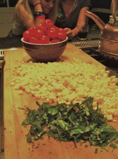 Basil corn and tomatoes