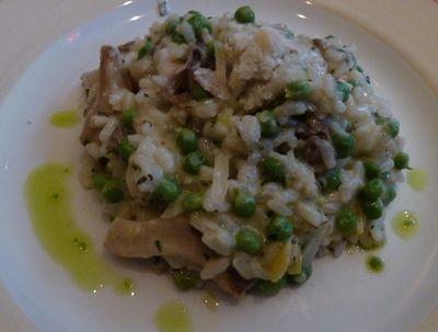 Mushroom and english pea risotto