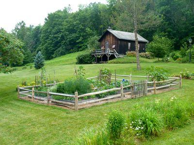Vegetable garden and school house