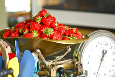 Berries being weighed in batches