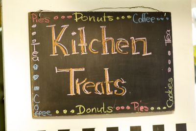 Donuts pies and coffee sign