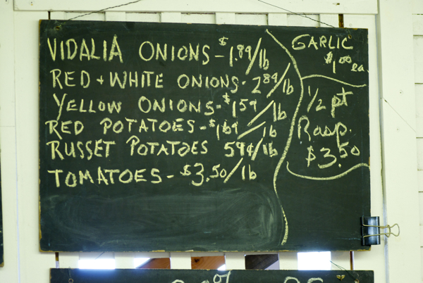 Vegetable price board
