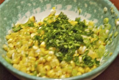 Corn cilantro and cotija cheese