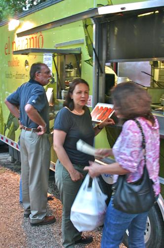 Iliana and customers at truck