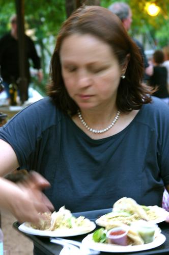 Iliana with dishes