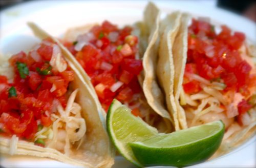 Shrimp Tacos with salsa mexicana and lime