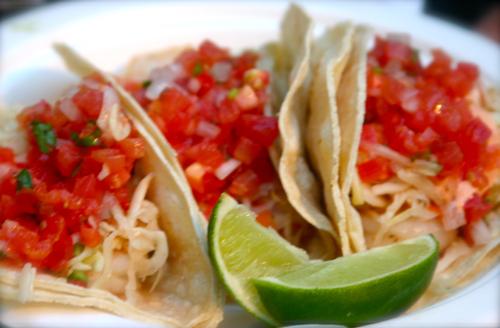 Shrimp Tacos with salsa mexicana and lime