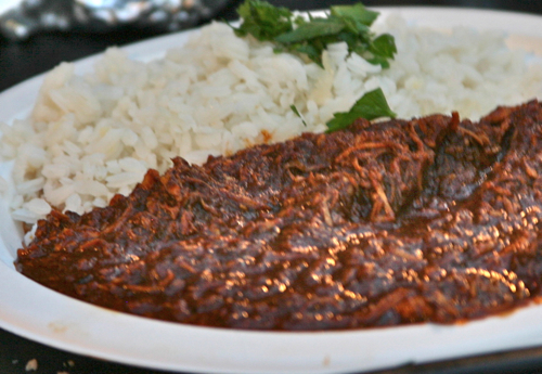 Chicken in coloradito mole with rice fav of iliana oaxacan no chocolate