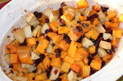 Butternut squash apple and cranberry gratin